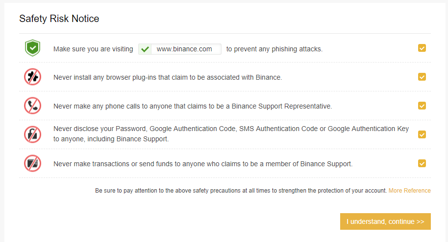 Binance safety risk notice