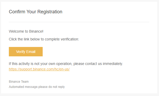 Binance vertify email