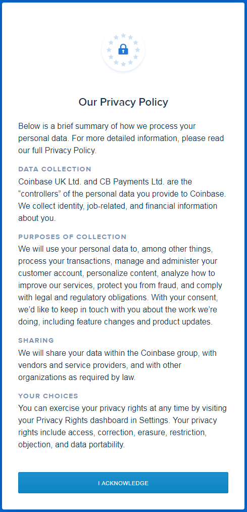 Coinbase Privacy Policy